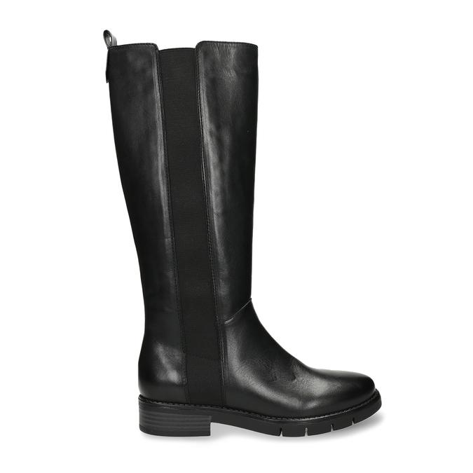 Černé dámské kožené kozačky flexible, černá, 594-6724 - 19