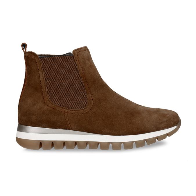 Hnědá dámská kožená kotníková obuv gabor, hnědá, 593-3103 - 19