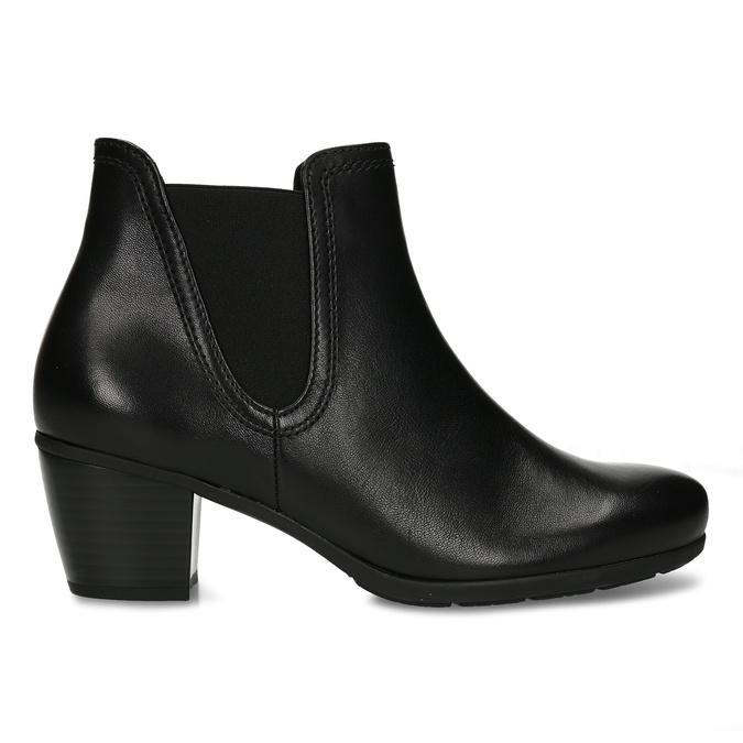 Černá dámská kožená kotníková obuv na podpatku gabor, černá, 696-6114 - 19