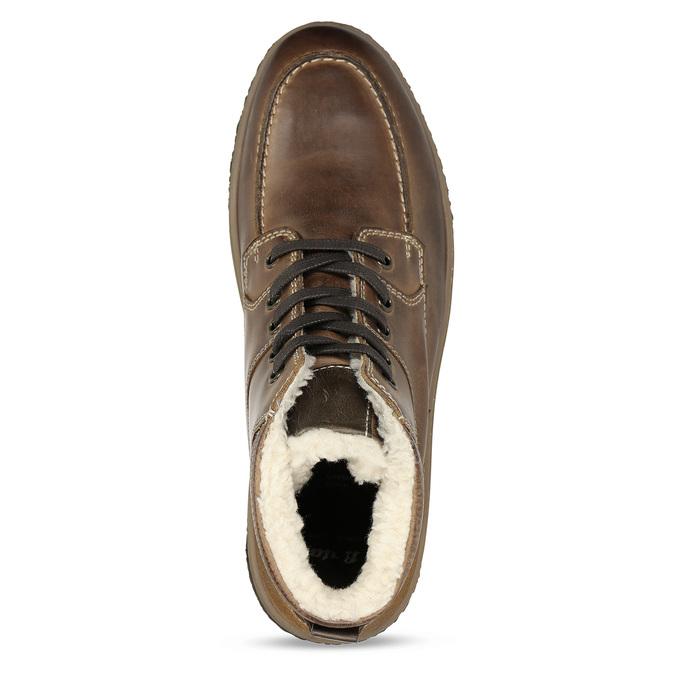 Hnědá pánská kožená obuv s teplým kožíškem bata, khaki, 896-3608 - 17