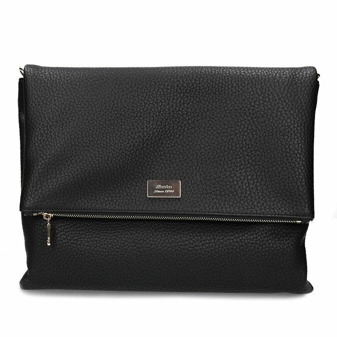 Dámská koženková kabelka s klopu na zip bata, černá, 961-6602 - 26