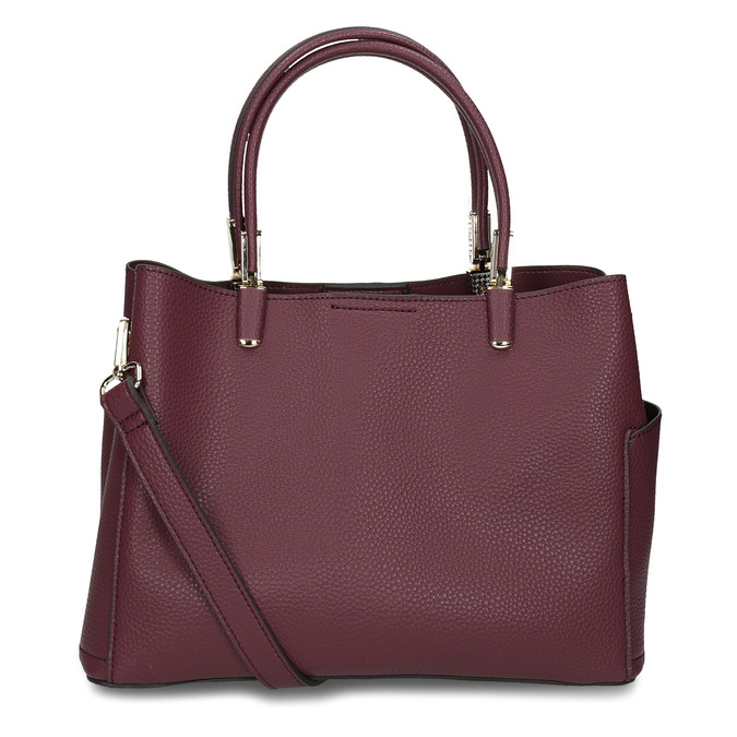 Mahagonová kabelka s kapsičkami na stranách bata, červená, 961-5610 - 16