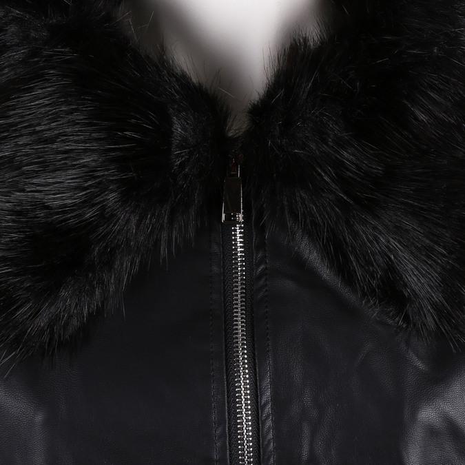 Černá dámská koženková bunda na zip s výrazným límcem bata, černá, 971-6259 - 16