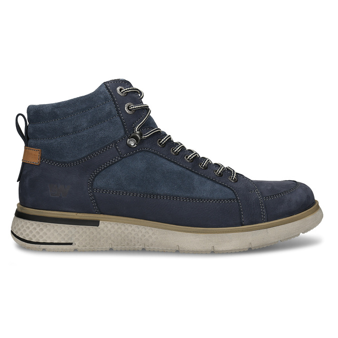 Pánská kotníková obuv v modré kůži se šněrováním weinbrenner, modrá, 846-9621 - 19