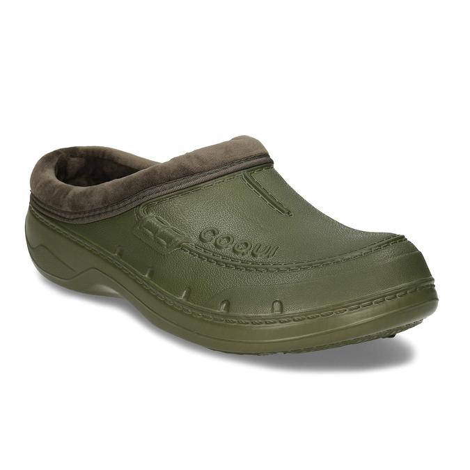 Khaki pánské pantofle se zateplením coqui, zelená, 872-7711 - 13