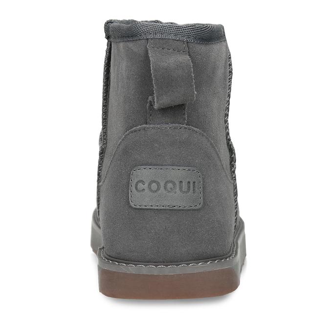 Šedé kožené zimní kotníkové boty s kožíškem coqui, šedá, 593-2611 - 15