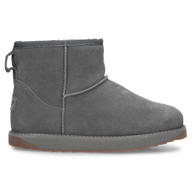 Šedé kožené zimní kotníkové boty s kožíškem coqui, šedá, 593-2611 - 19