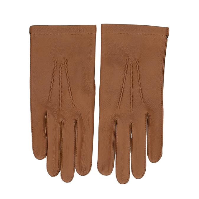 Světle hnědé dámské kožené rukavice s řasením junek, hnědá, 944-3118 - 26