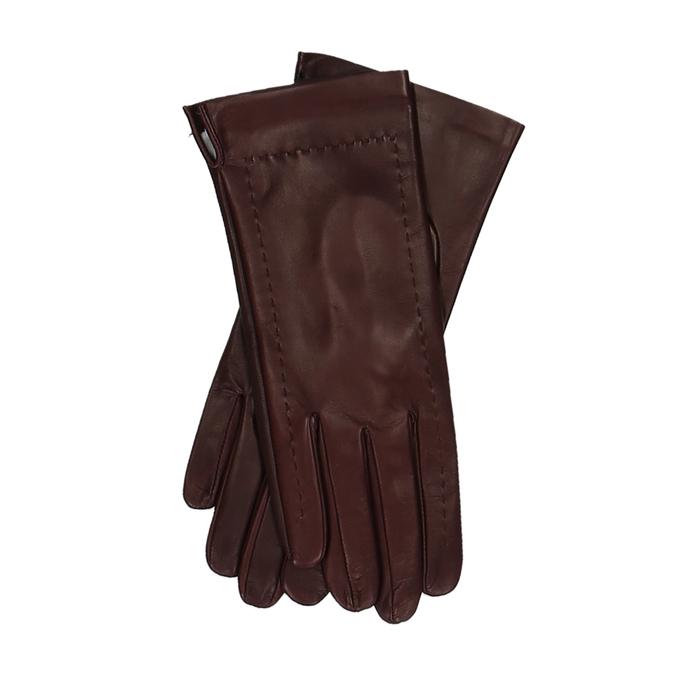 Hnědo-červené dámské kožené rukavice junek, červená, 944-5212 - 13