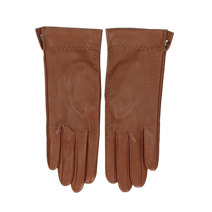 Hnědé dámské kožené rukavice s prošitím junek, hnědá, 944-3212 - 26
