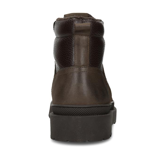 Hnědá pánská kožená kotníková obuv na vyšší podešvi bata, hnědá, 896-7610 - 15