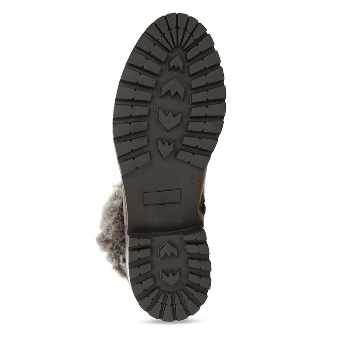 Hnědá kožená dámská kotníková obuv s kožíškem bata, hnědá, 594-4632 - 18