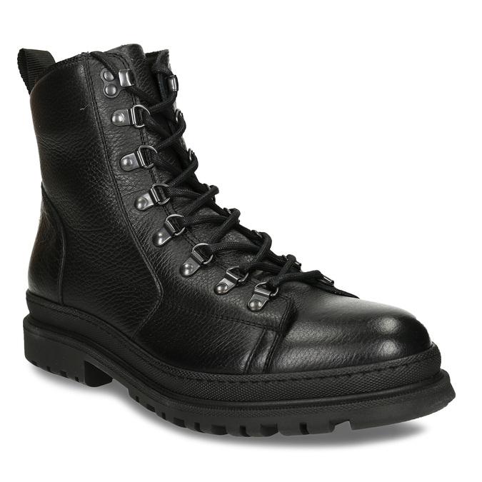 Černá pánská kožená kotníková obuv na šněrování bata, černá, 894-6613 - 13