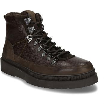 Hnědá pánská kožená kotníková obuv na vyšší podešvi bata, hnědá, 896-7610 - 13