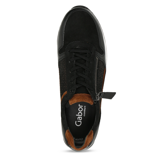 Černé dámské kožené tenisky na vysoké podešvi gabor, černá, 526-6111 - 17