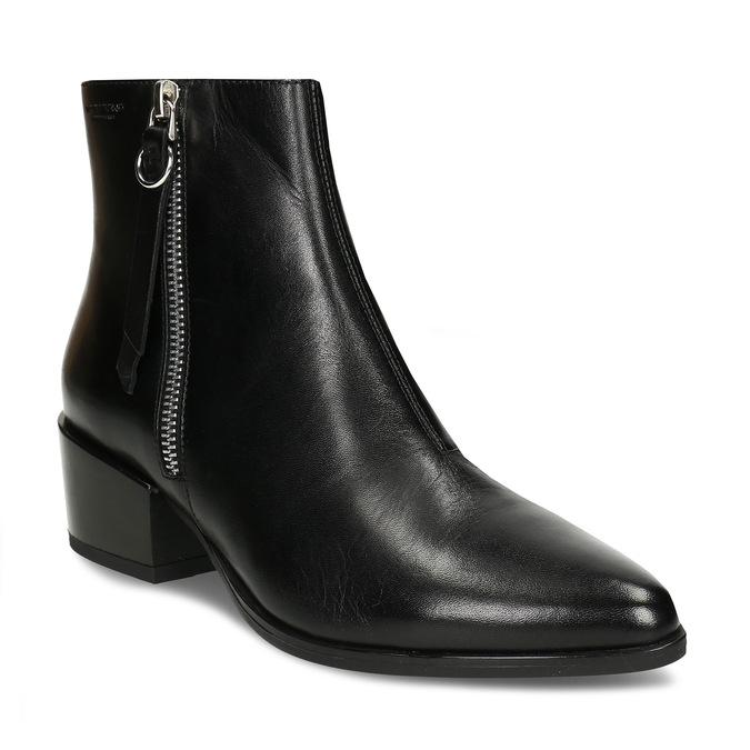 Kožená dámská černá kotníková obuv do špičky vagabond, černá, 694-6650 - 13