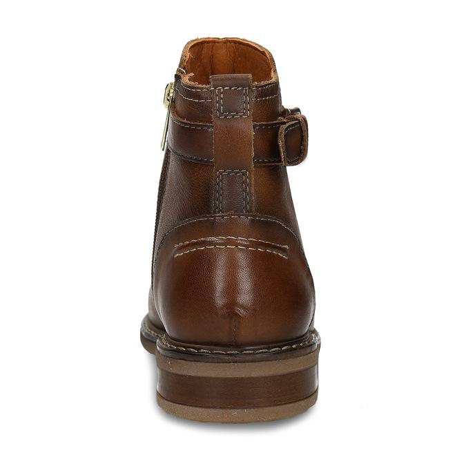 Hnědá dámská kožená kotníková obuv s přezkou pikolinos, hnědá, 596-4618 - 15