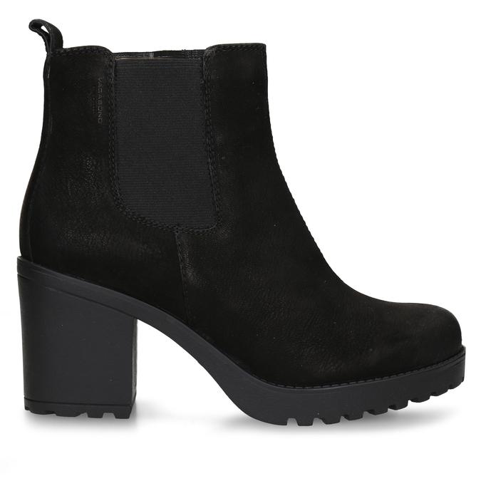 Černá dámská kožená Chelsea obuv na podpatku vagabond, černá, 796-6607 - 19