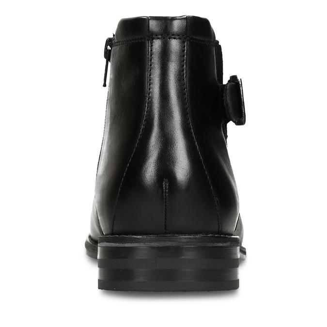 Černá pánská kožená kotníková obuv s přezkou bugatti, černá, 896-6878 - 15