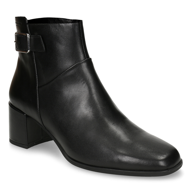 Dámská kotníková obuv v černé kůži s přezkou vagabond, černá, 794-6629 - 13