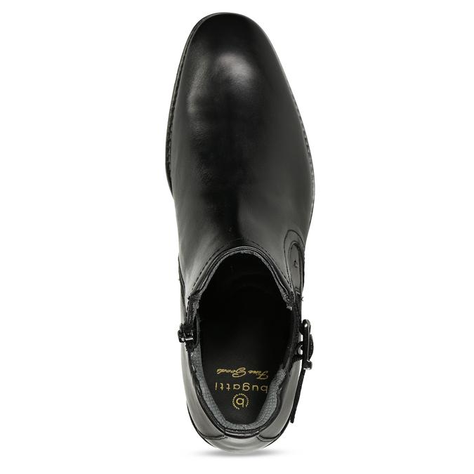 Černá pánská kožená kotníková obuv s přezkou bugatti, černá, 896-6878 - 17