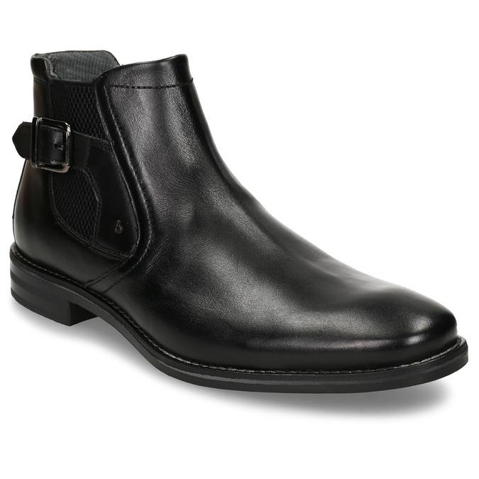 Černá pánská kožená kotníková obuv s přezkou bugatti, černá, 896-6878 - 13