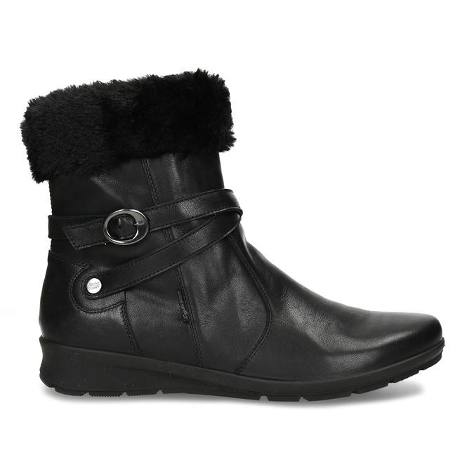 Černá dámská kožená kotníková obuv s kožíškem comfit, černá, 594-6725 - 19