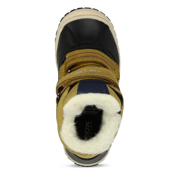 Žluto-černá kožená chlapecká zimní obuv s kožíškem geox, žlutá, 196-8148 - 17
