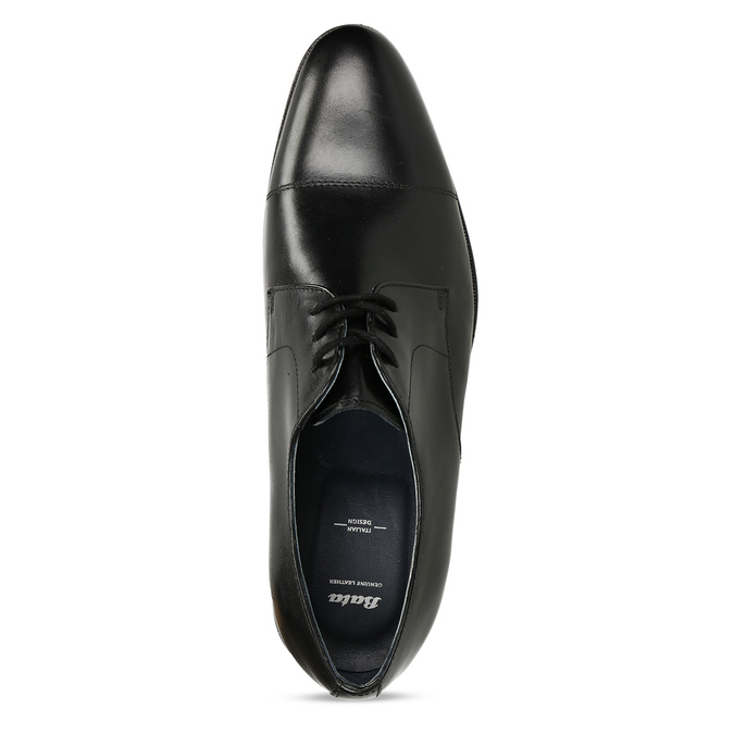 Černé kožené polobotky v derby stylu bata, černá, 824-6657 - 17