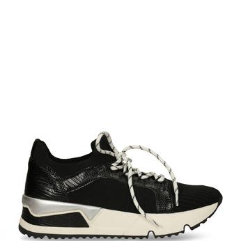 Černé tenisky na bílé flatformě bata, černá, 549-6616 - 13