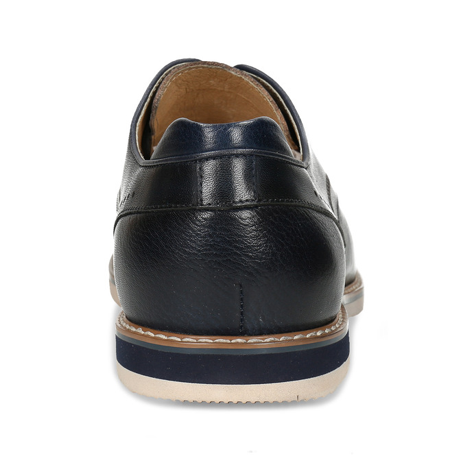 Tmavě modré pánské kožené polobotky v derby stylu bata, modrá, 826-9647 - 15