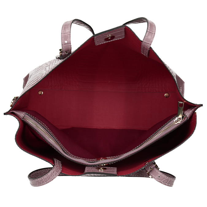 Růžová kožená dámská kabelka s hadím vzorem bata, růžová, 964-5605 - 15