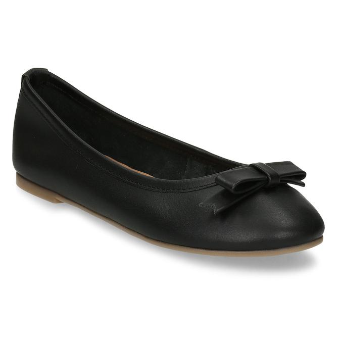 Černé dívčí kožené baleríny mini-b, černá, 324-6601 - 13