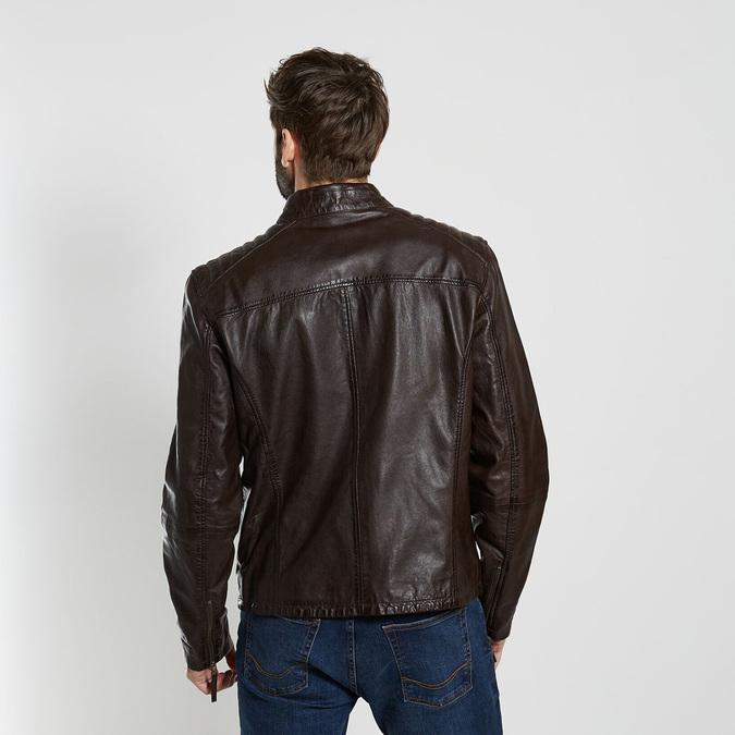 Hnědá kožená pánská bunda bata, hnědá, 974-4205 - 26