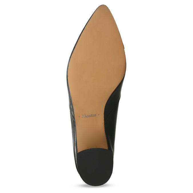 Černé kožené dámské lodičky na stabilním podpatku bata, černá, 724-6614 - 18