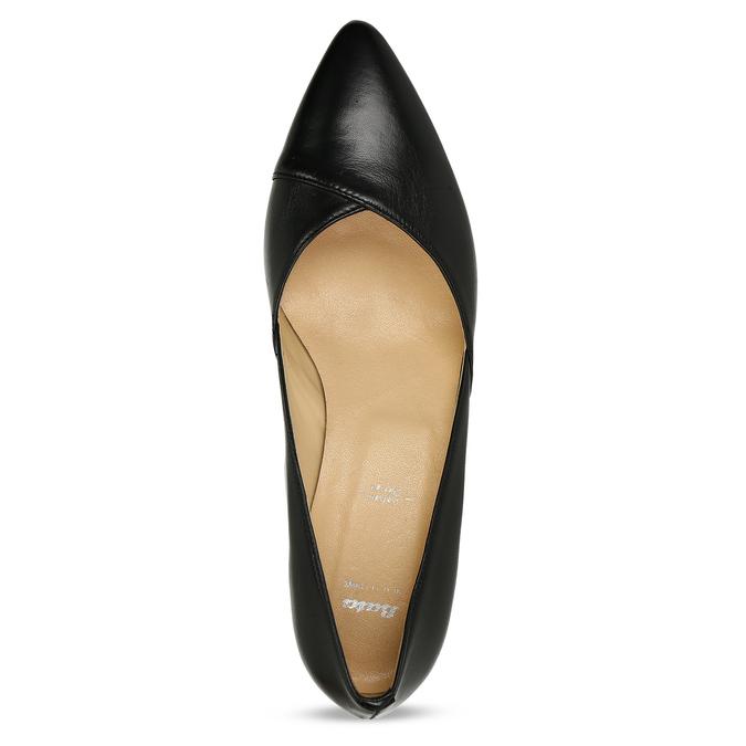 Černé kožené dámské lodičky na stabilním podpatku bata, černá, 724-6614 - 17