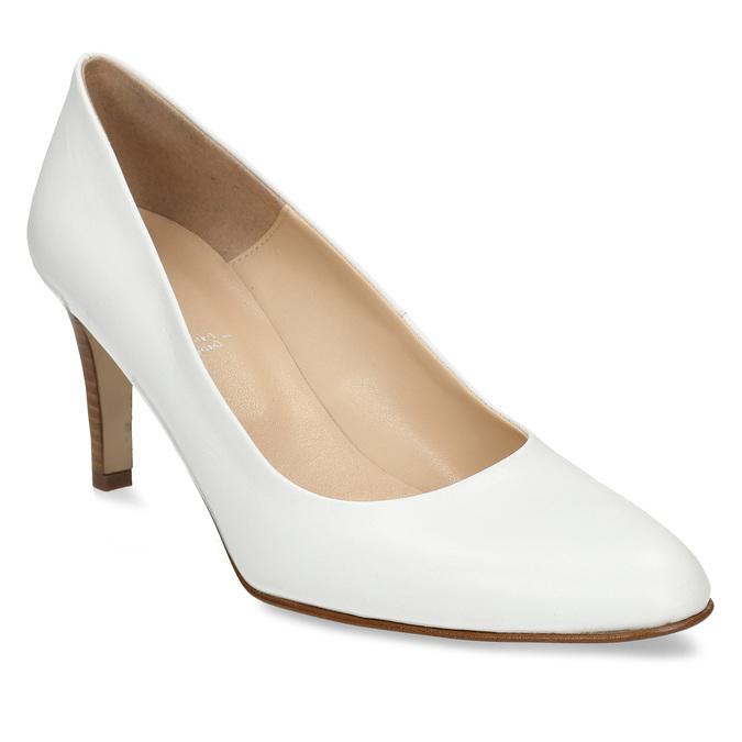 Bílé kožené lodičky na vysokém podpatku bata, bílá, 724-1601 - 13