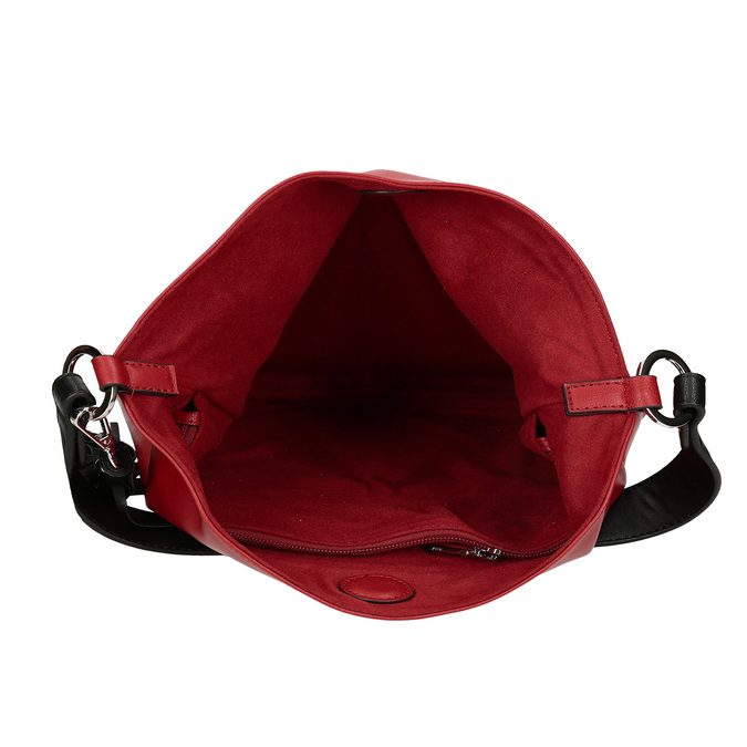 Červená dámská koženková kabelka s černým uchem bata, červená, 961-5670 - 15
