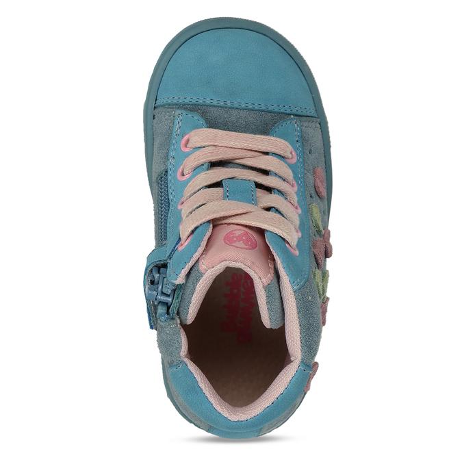 Modré dívčí kotníkové tenisky se srdíčky bubblegummers, tyrkysová, 121-8604 - 17