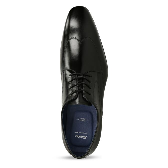 Černé pánské kožené polobotky v derby stylu bata, černá, 824-6708 - 17