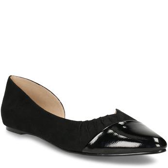 Černé dámské baleríny s asymetrickým střihem bata, černá, 529-6603 - 13