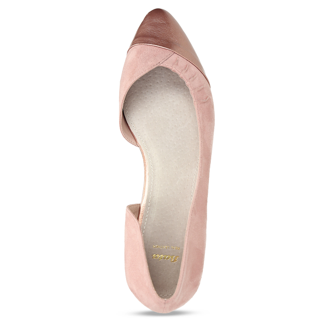 Růžové dámské baleríny s asymetrickým střihem bata, růžová, 529-8603 - 17