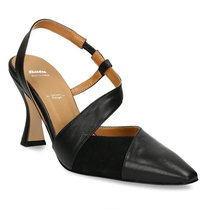 Černé dámské kožené lodičky s otevřenou patou bata, černá, 726-6606 - 13