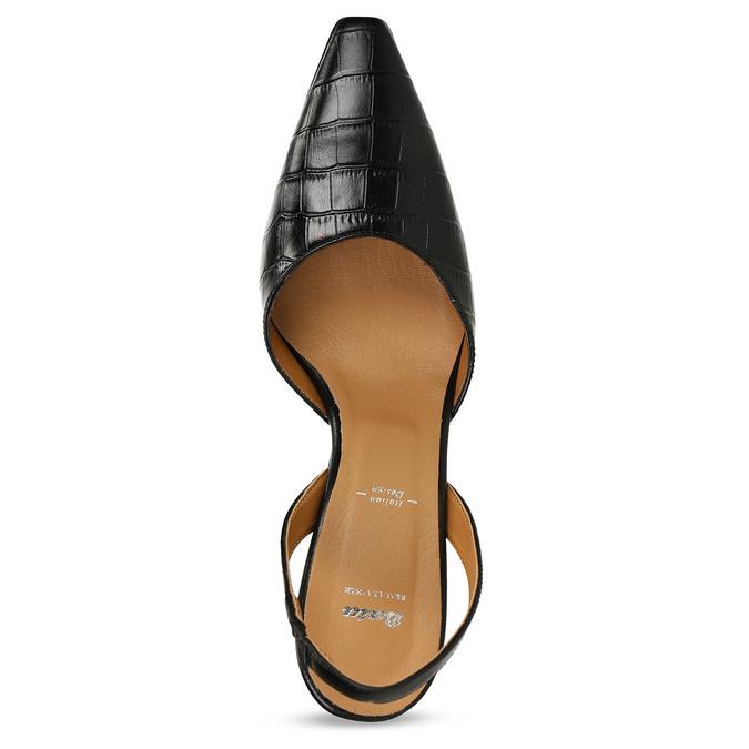 Černé dámské kožené lodičky s otevřenou patou bata, černá, 726-6600 - 17