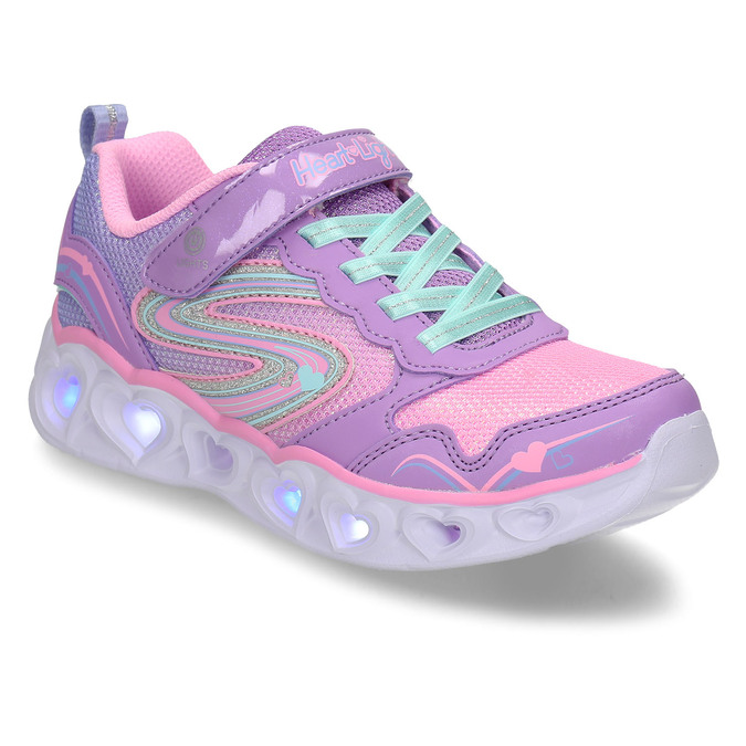 Fialové dětské sneakersky se svítícími srdíčky v podešvi skechers, fialová, 309-9619 - 13