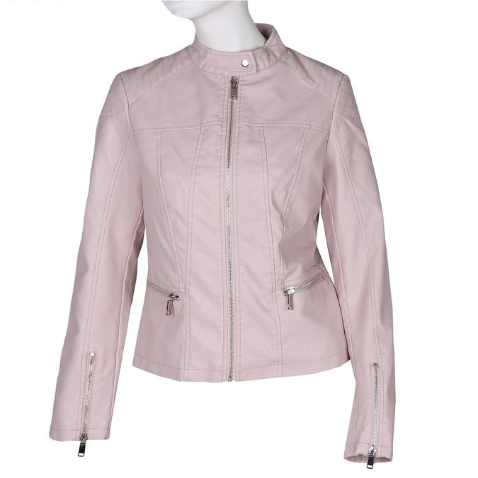 Růžová dámská koženková bunda se zapínáním u krku bata, růžová, 971-5285 - 13