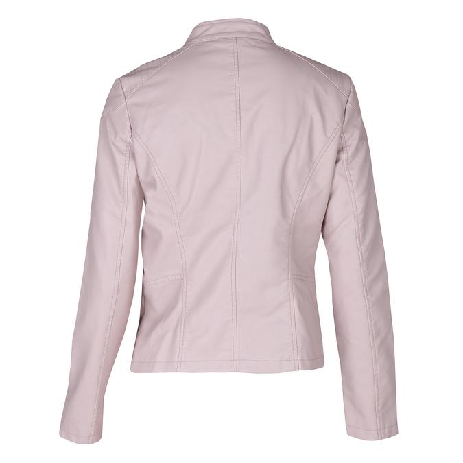 Růžová dámská koženková bunda se zapínáním u krku bata, růžová, 971-5285 - 26