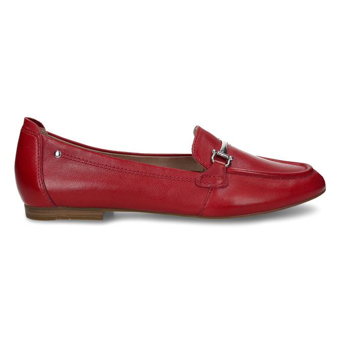 Červené dámské kožené mokasíny bata, červená, 514-5600 - 19