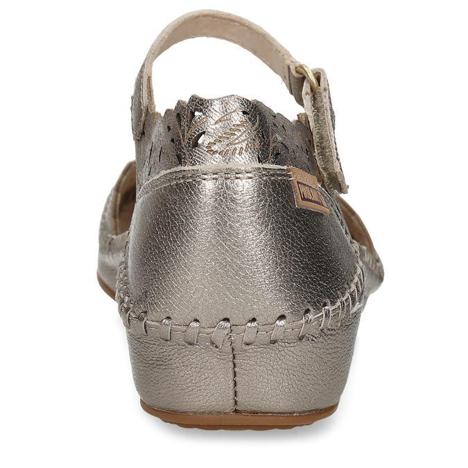 Stříbrné dámské kožené sandály s dekorativní perforací pikolinos, stříbrná, 524-1634 - 15