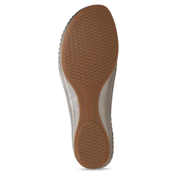 Stříbrné dámské kožené sandály s dekorativní perforací pikolinos, stříbrná, 524-1634 - 18